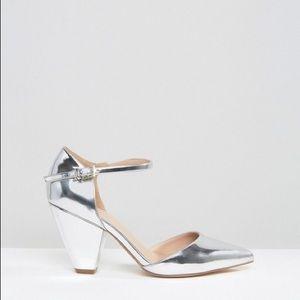 ASOS Speaker Pointed Chunky Heels Silver